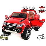 FORD RANGER Wildtrak de lujo, Rojo, producto BAJO LICENCIA, con mando a distancia 2.4Ghz Bluetooth, apertura de puertas y capó, os asientos en cuero, Ruedas EVA Suave