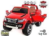 Ford Ranger Wildtrak -Luxury Elektrisches Auto für Kinder, 2.4Ghz Fernbedienung, 2 MOTOREN, Zweisitzer in Leder, Weiche EVA Räder, Rot, MP3 USB SD, Original-Ford-Lizenz