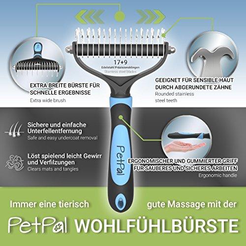 PetPäl Wohlfühl Hundebürste | Effektive Unterwollbürste | Massage Fell-Entfilzungsstriegel | Enthaarungs-Bürste | deShedding | Universal-Striegel für Mittel bis Langhaar | Schmerzfreies Ausdünnen | Effiziente Fellpflege | 2 Gratis Abstracts | 100% PetPäl-Zufriedenheitsgarantie (Blau) - 2