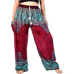 Lofbaz Mujer Cordón Rose 1 Harén Boho Genio Pantalones Borgoña M