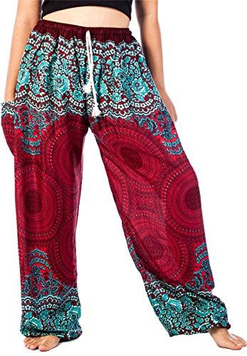 Lofbaz las mujeres Pantalones Harem Boho del lazo del Floral Borgoña Una Talla