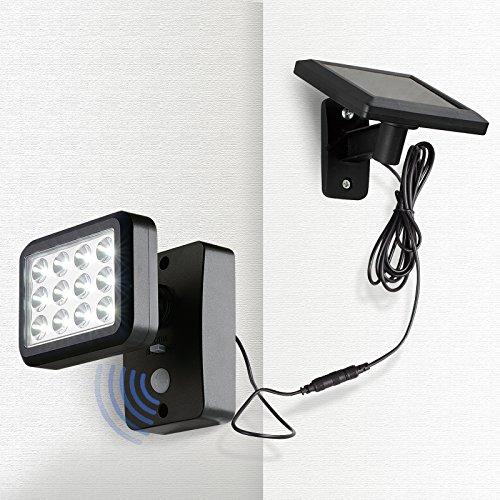 OUBO LED Solarleuchte Solar Lampe mit Bewegungsmelder 12 LEDs 300 LM, 2 Modi, für Garten, Patio, Zaun, Hof, Balkon, Terrasse, Haus, Auffahrt Dämmerungsschalter IP44 Energiesparend schwarz
