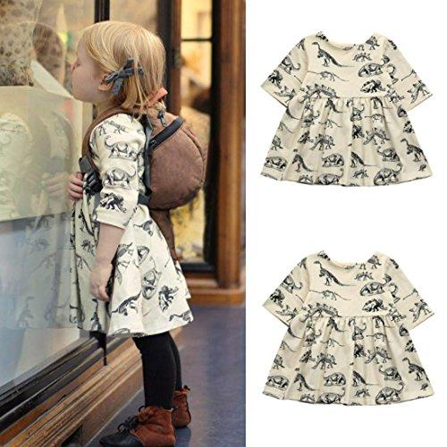 Saihui For 0-18 Months Baby, Baby Girls Cartoon Dinosaur Print Sun Dresses Clothes Outfits