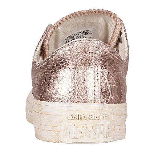 Converse Damen Schuh Chuck Taylor Ox Schlangenhautmuster Silber / weiß Rose Gold/White
