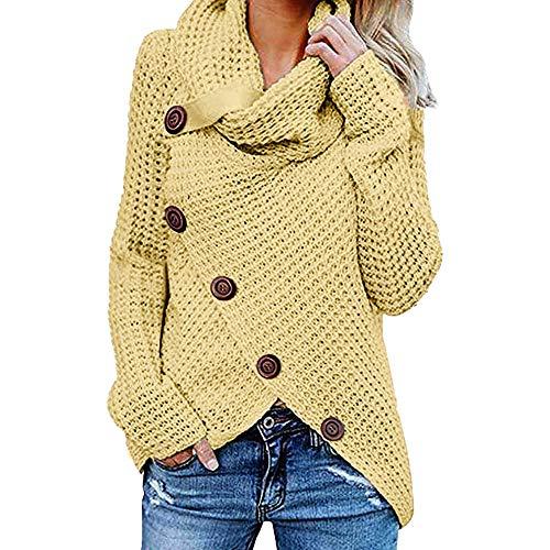 drykorn wollmantel VEMOW Damen Rollkragenpullover Solid Sweater Warm Cable Gestrickte Lose Knopf Wrap Asymmetrische Langarm Sweatshirt Pullover Tops Bluse Shirt(X1-Gelb, EU-42/CN-2XL)