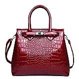 YGMDSL Handtasche Krokodilmuster Eine Schulter Tragbar PU Wasserdicht Kratzschutz Hochwertige Hardware,Red,25 * 30 * 12CM