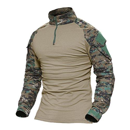 MAGCOMSEN Herren Schlank Passen Taktisch T-Shirt Militär Airsoft Tarnung Kampf Lange Hülse Shirts mit Reißverschluss