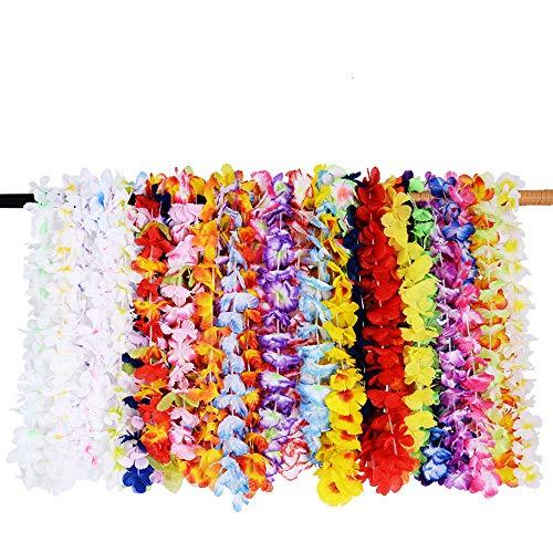Egurs 36 Pack Hawaiian Flower Lei Halskette Girlanden Dekorationen Hawaii Tropical Beach Luau Seide Bunte Flower Lei Theme Kränze für Sommer Tiki Party.