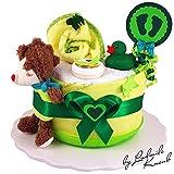 Windeltorte / Pamperstorte > Babygeschenk für Mädchen und Jungen in schönem Grünton // Geschenk zur Geburt, Taufe, Babyparty // originelles und praktisches Geschenk für Babys
