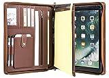 Handgearbeite Echtleder Konferenzmappe mit Reißverschluss für iPad Pro 12.9, A4-Mappe, Tablet-Tasche, Geschäftsmappe mit dem Herausziehbaren Griff, A4 Dokumentenmappe, Braun