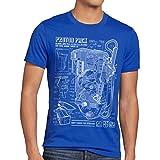 style3 Proton Pack Fotocalco Azul Camiseta para Hombre T-Shirt Cazafantasmas, Talla:2XL, Color:Azul