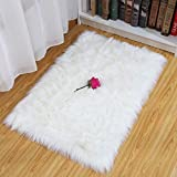 HEQUN Faux Fur Rug Soft Fluffy Rug, Shaggy Rugs Faux Sheepskin Rugs Floor Carpet for Bedrooms Living Room Kids Rooms Decor (White, 75X120CM)