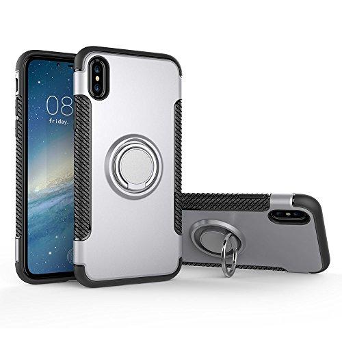 UKDANDANWEI Apple iPhone X Hülle mit 360 Grad Full Body Ring Ständer, Hybrid Dual Layer Defender Handyhülle Case [Shock Proof] für Apple iPhone X - Gold Silber