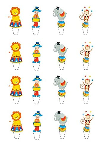 16 Standing wafer card edible cake toppers - circus clown baby shower new baby 1st birthday