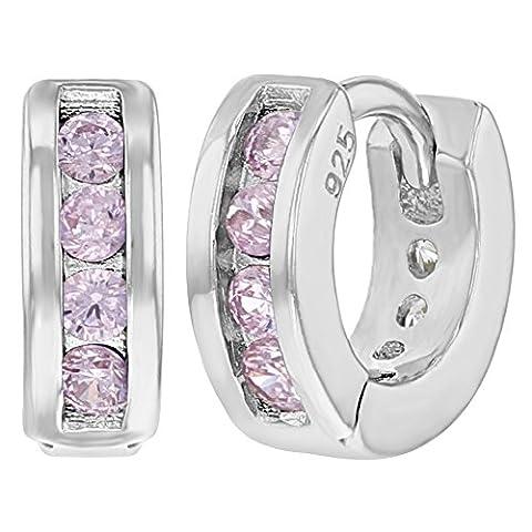 In Season Jewelry - 925 Sterling-Silber Sterling-Silber 925 Rundschliff pink/rosa Oxyde de Zirconium