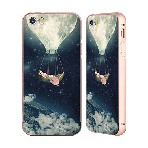 Ufficiale Paula Belle Flores You Are In My Heart Luna Oro Cover Contorno con Bumper in Alluminio per Apple iPhone 5 / 5s / SE Carries Me Away