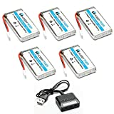 HOBBYTIGER 5pcs 3.7V 1200mAh 25C LiPo Battery + 5 in 1 Battery Charger for SYMA X5SW X5SC CX-30W RC Quadcopter Drone Spare Parts from Hobbytiger