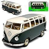 alles-meine GmbH VW Volkswagen T1 Grün Weiss mit Dachfenster Samba Bully Bus 1950-1967 1/24 Welly Modell Auto mit individiuellem Wunschkennzeichen