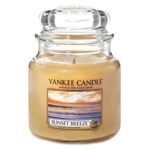 YANKEE CANDLE 1352165E Sunset Breeze Duftkerze, Glas, orange, 13,8 x 9,5 x 13,8 cm