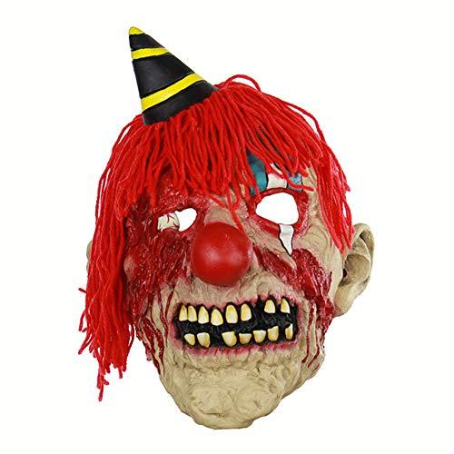 Halloween Latex Maske Beängstigend Blutigen Clown Mit Plüsch Hut 3D Neuheit Gruselig Teufel Kostüm Partei Cosplay Requisiten Rollenspiel Spielzeug