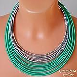 Textil-Halskette, Farben: Minze, grün, silber