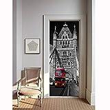 MSSDEBZ Adesivo Porta 3D Wall Sticker Murale Autoadesivo Pvc DelPaesaggio Della Costruzione Del Bus Di Rinnovamento Di LondraSulla Decalcomania Impermeabile Della Decorazione Dell'Entrata-95x215cm