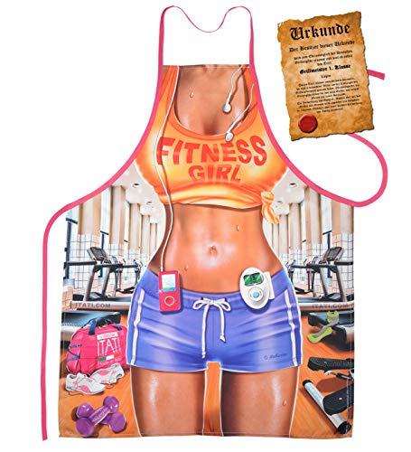 Mega Sexy Küchenschürze Kochschürze Schürze mit Gratis Urkunde - Fitness Girl - sexy Scherzartikel Geschenk Geschenkidee - Günstige Kid Kostüm