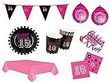 Party Komplettset Deko Set 16.Geburtstag Mädchen pink 47 teilig 12 Personen Partyset Komplett Set Party Deko Party Geschirr