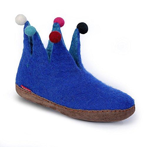 Betterfelt Handgefilzte Wollene Hausschuhe für Damen - Natürliche Wolle - Ledersohle - Große 38 - Königsblau - Fairtrade - Narr Filzstiefel