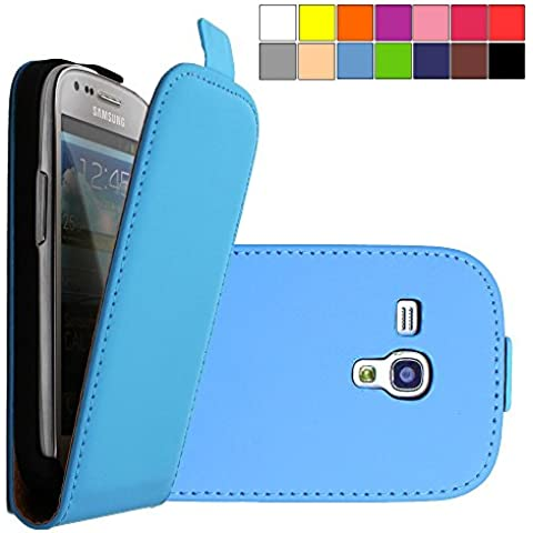 COOVY® COVER CASE CUBIERTA DELGADO FUNDA PROTECTORA CON TAPA PARA Samsung Galaxy S3 MINI GT-i8200 GT-i8190 GT-i8195 con lámina projoectora de pantalla color azul