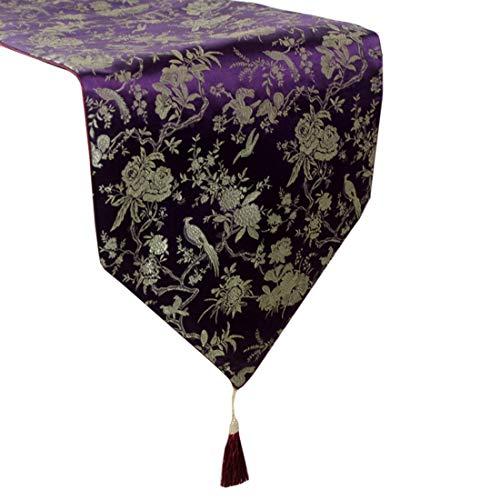 Seidenstoff, maschinenwaschbar, alltäglichen Küchentischläufer für Dinner Parties, Events, Dekor 33x200cm-rot, gelb, lila, 1 PC (Color : Purple) ()