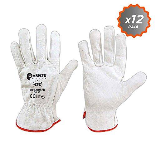 Confezione da 12 guanti in fiore di vitello bianco orlato da giardinaggio taglia 10