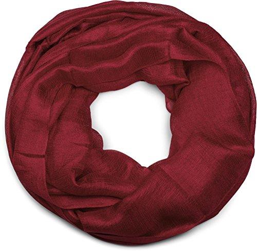 styleBREAKER Loop Schal leicht und seidig in Unifarben, Schlauchschal, Tuch, Unisex 01017063, Farbe:Bordeaux-Rot
