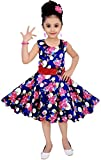 #9: Cute Fashion Kids Girls Baby Dress for Princess Satin Flower Print Party Wear Frock Dresses Clothes for 3 Months to 3 Years