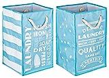 TOPP4u 2er Set Wäschesammler, Wäschekorb blau - weiß, 4 tolle Designs, Vintage, faltbarer Wäschesack mit 45 Ltr, 30x30x50 cm, langlebige und praktische Wäschebeutel