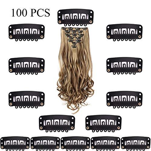 SUPERBEE 100er Pack Perückenclips, schwarzer Edelstahl-Karabiner mit 6 Zähnen und Gummi für die Haarverlängerung DIY, 3,2 cm -