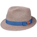 Stetson Contrast Colour Toyo Trilby Hut Fedora Strandhut Sonnenhut Sommerhut Strohhut UV-Schutz Damen/Herren | mit Ripsband Frühling-Sommer | L (58-59 cm) blau-beige