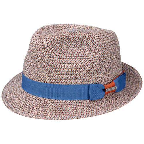 Stetson Contrast Colour Toyo Trilby Hut | Fedora aus Stroh (Toyo) | Sonnenhut Damen/Herren | Strandhut mit UV-Schutz 40 | Strohhut Frühjahr/Sommer | Sommerhut blau-beige M (56-57 cm)
