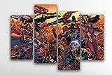Impression sur toile murale Motif Marvel Avengers-Ironman Captain America Spiderman Wolverine Comics-X Large 4(non 5) pièce Taille encadrée, Medium 41 inches x 28 inches