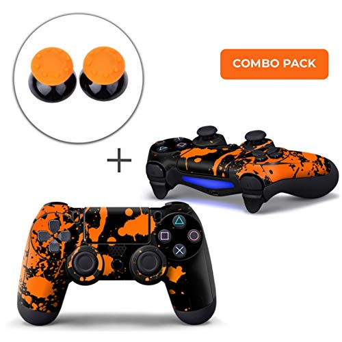 Paint Splatters / Black with Orange Combo Pack - PS4 Controller Skins PlayStation Stickers + Thumb Grips