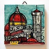Viejo, Puente, Florencia - Santa Maria del Fiore - Baldosa cerámica decorado a mano, dimensiones cm...