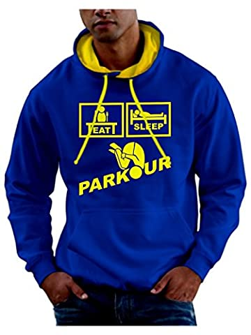 Pride and Glory - Sweat-shirt à capuche - - Slogan - Manches longues Homme - Bleu - Royal Blue / Lemon Yellow Hood and Print - Large
