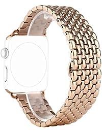 Correa para Apple Watch Series 2 / 1, Rosa Schleife iWatch WristBand Reemplazo de Banda Smart Watch Band de Reloj de Acero Inoxidable Metálica Pulsera Strap para Apple Watch 42mm