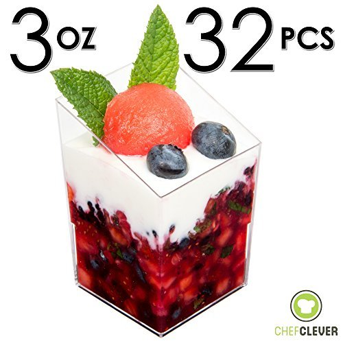 Dessert Cups Slanted Mini Cubes Clear Tasting Sample Glass 32Ct Small 3oz Containers Elegant Square Plastic Bowls Disposable for Appetizers Shooters Chocolate Parfait Jello Shot & Catering Supplies by Chef Clever