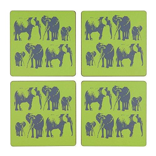 Space 1a Design Juego de posavasos de familia de elefantes de 4