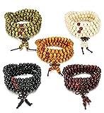 Sailimue 5Pcs 8MM Bois Bracelet Boule pour Homme Femme Collier Bouddhiste Chapelet Bracelet Ensemble Elastique
