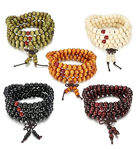 Sailimue 8mm 5Pcs Holz Perlen Armband für Männer Damen Armbänder Buddha Elastik