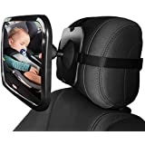 Universal Car Rear Seat View Mirror- Aolvo Baby Back Seat Mirror- Wide Convex Shatter-proof Acrylic Infant Backseat Mirror for Car-Easily Observe Baby's Every Move, Safety and 360 Degree Adjustability