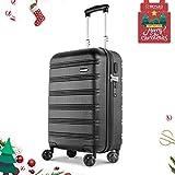 REYLEO Hartschalen Spinner Koffer, 20 Zoll Handgepäck mit TSA Schloss und USB-Ladeanschluss, Geräuschloses Räder Trolley-Schwarz