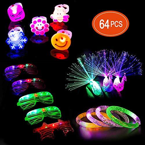 Ucradle 72 pièces Néon LED Lumineuses Lumière Jouet Articles de Fête Faveurs Les Enfants- 56 Anneaux Clignotants LED, 3 Bracelets à Bulles, 5 Verres LED et 8 lumières LED